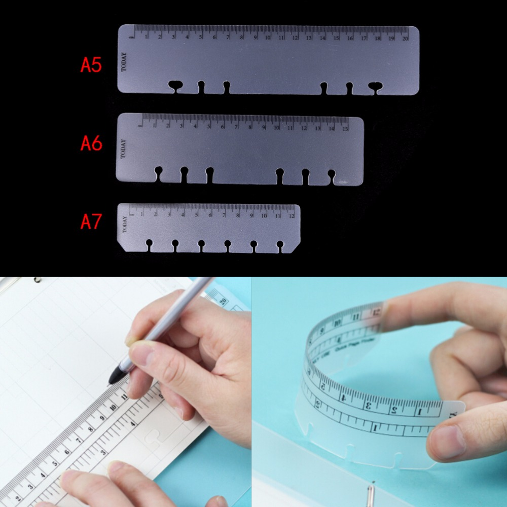 1 PC Practical Loose Leaf Bookmark Ruler A5 A6 A7 PVC Planner Agenda For 6 Holes Loose Leaf Spiral Notebook Ruler