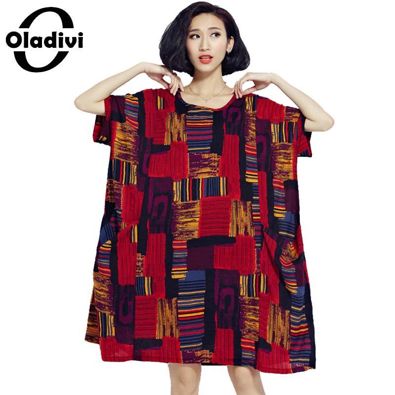 Oladivi كبير زائد حجم النساء الملابس 2018 الصيف أزياء مطبوعة عادية فضفاض اللباس قصيرة الأكمام الجدة تونك فساتين vestidos