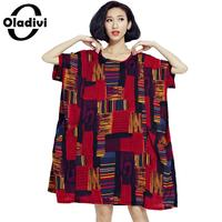 Oladivi Large Plus Size Women Apparel 2018 Summer Fashion Printed Casual Loose Dress Short Sleeve Novelty Tunic Dresses Vestidos