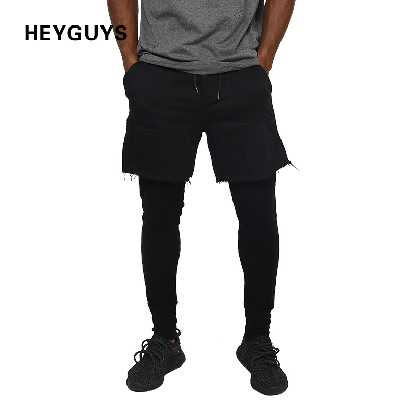 HEYGUYS Pant Men Fitness Trousers Street-Wear Bottoms Fashion Hip-Hop Fake 2pcs