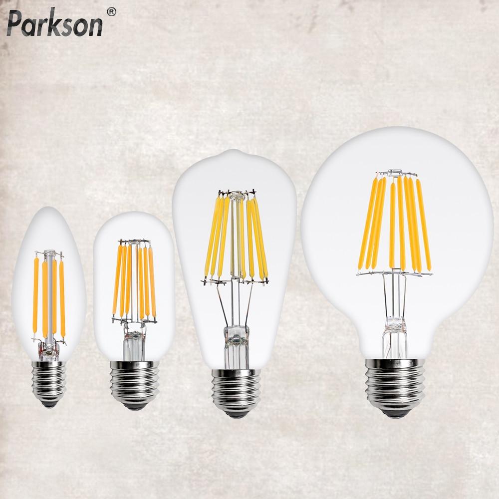 LED Filament Edison E14 E27 220V C35 G45-G95 ST60 A60 T45 2W 4W 6W 8W Retro Lamp Candle Chandelier Bulb Home Decoration Light