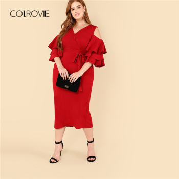 COLROVIE Plus Size Red Cold Shoulder Ruffle Wrap Sexy Dress Women 2018 Autumn Green Belted High Waist Party Elegant Maxi Dresses