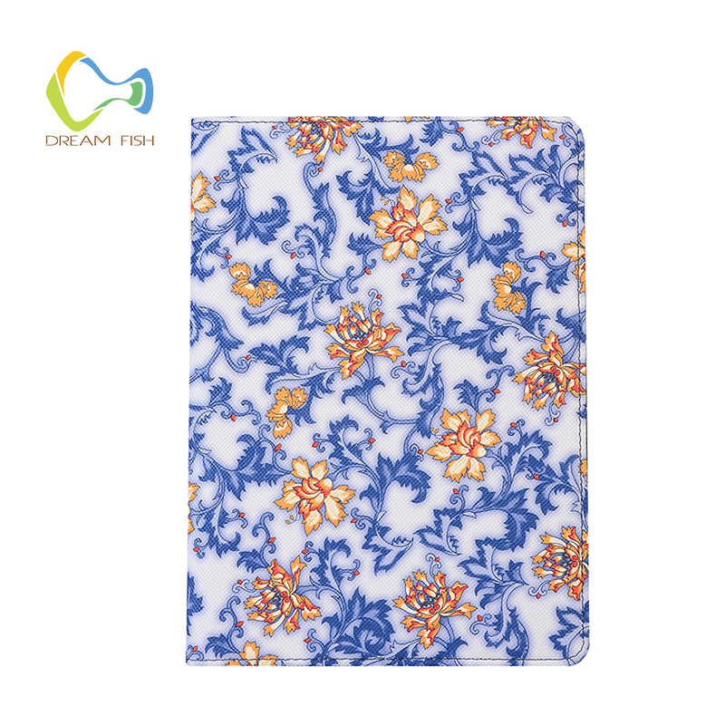 For iPad Pro 12.9 inch Smart Wake-up Sleep bracket Magnetic Silicon Rotating bracket Chinese ceramic style flowers Flip Cover