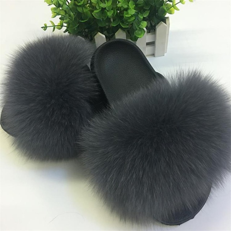 Real Fur Slippers Women Fox Home Fluffy Sliders Comfort With Feathers Furry Summer Flats Sweet Ladies Shoes Large Size 45 Home