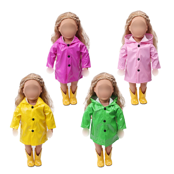 18 inch Girls doll clothes waterproof raincoat PU coat American new born dress Baby toys fit 43 cm baby dolls c539 baby born doll clothes toys white polka dots dress fit 18 inches baby born 43 cm doll accessories gc18 36