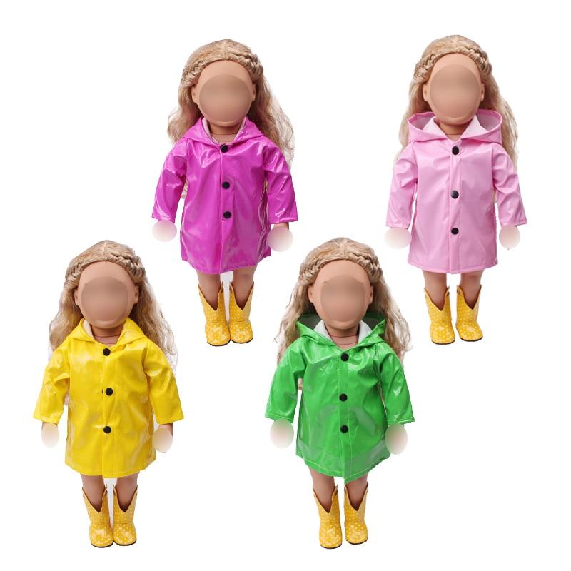 18 дюймовая Одежда для кукол для девочек, водонепроницаемый плащ из искусственной кожи, пальто, американское платье для новорожденных, детские игрушки, размер 43 см, детские куклы c539|Куклы|   | АлиЭкспресс