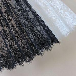 Image 2 - Kobiety jesień zima koronkowe spódnice na co dzień elegancka siateczka mesh przezroczysta Hollow Out krótka linia czarny biała spódnica Overskirt podkoszulek