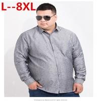 Plus 8XL 6XL 5XL 4XL Men Shirt Brand 2018 Male High Quality Long Sleeve Shirts Casual Hit Color Slim Fit Gray Man Dress Shirts