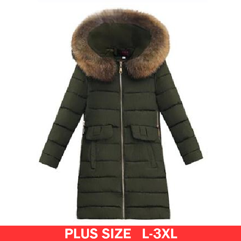L-3XL Plus Size Winter Down Coat With Fur Hood Woman Parkas Jacket 2017 Fashion Warm Long Sleeve Femme Outwear Manteau x long woman warm winter down coat camouflage brand really fur collar hood print down jackets with pockets size m 3xl