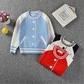 Nuevo Otoño de Las Muchachas de Suéter de Los Niños Jerseys de Béisbol de La Manera Jumper Sweater Niña Prendas de Punto Bebé Ropa de Abrigo