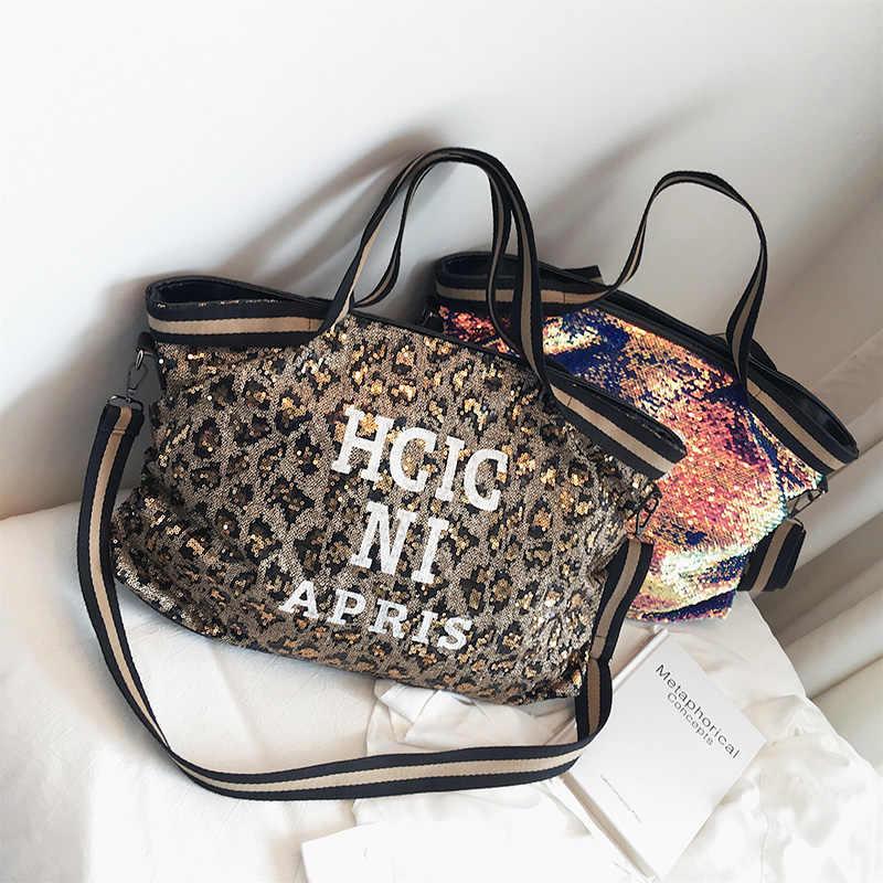 ليوبارد الترتر النساء حقائب سعة كبيرة اللون سيدة حقائب اليد حقيبة الوطنية عادية حمل فتاة الكتف حقيبة ساعي