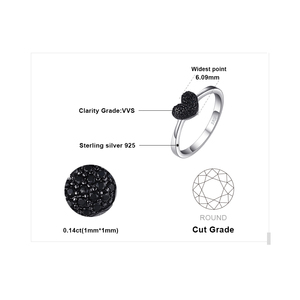Image 5 - JewelryPalace Heart Natural Black Spinel Ring 925 Sterling Silver Rings for Women Engagement Ring Silver 925 Gemstones Jewelry