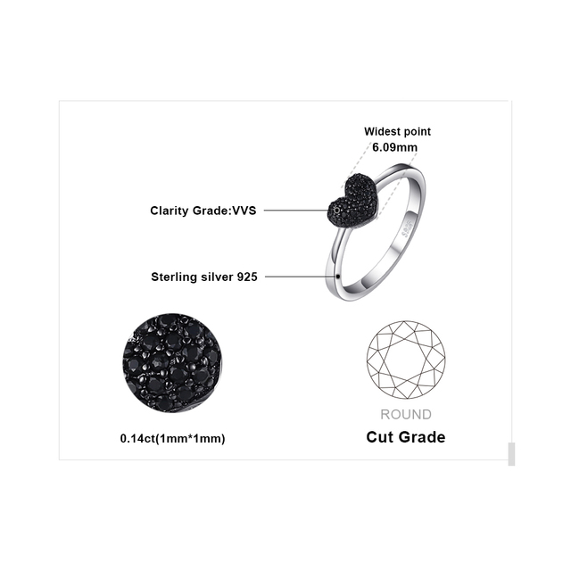 JewelryPalace Heart Natural Black Spinel Ring 925 Sterling Silver Rings for Women Engagement Ring Silver 925 Gemstones Jewelry 4