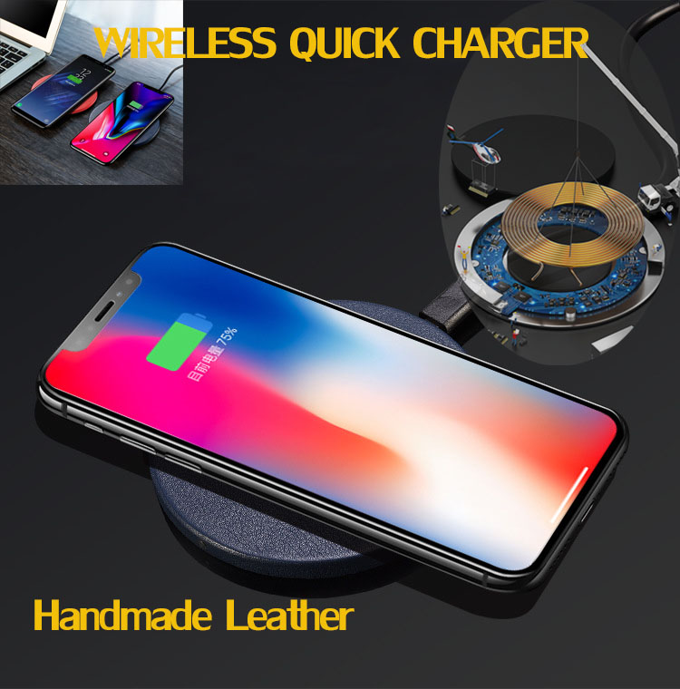 qi fast wireless charger original manual leather quicky wireless chargers for iphone x 8 plus. Black Bedroom Furniture Sets. Home Design Ideas