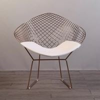 Free shipping U BEST Rose Gold or Gold color modern design Harry Bertoia Diamond wire Chair, Diamond metal steel padded