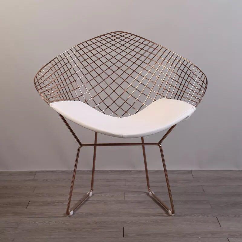 Livraison gratuite U-BEST couleur or Rose ou or design moderne Harry Bertoia diamant fil chaise, diamant métal acier rembourré