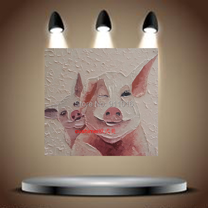 Wall Art Picture Home Decoration Hand Painted Lovely Pig Animals Oil Painting Canvas Abstract Hang Paintings
