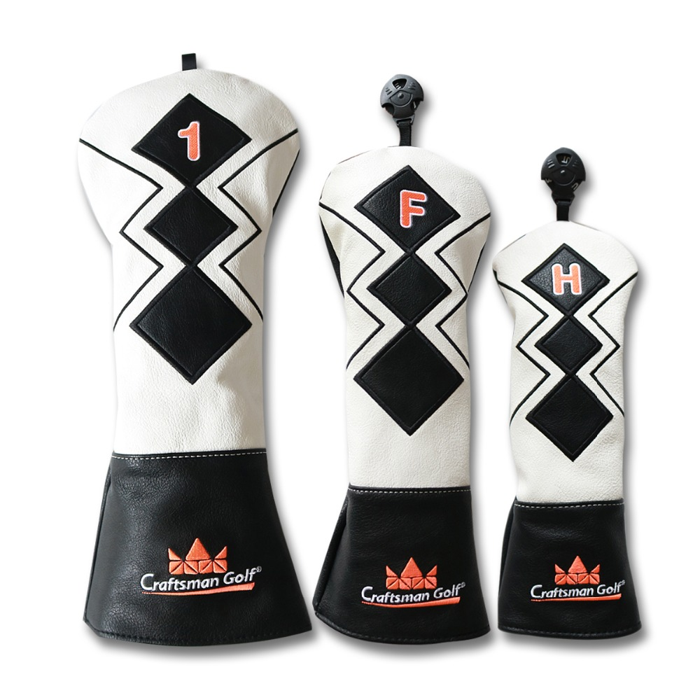 Craftsman Golf Headcover Wood Cover Putter Cover PU Leather Golf Club Headcovers Driver/Fairway/Hybrid Head Covers For #1# F#H