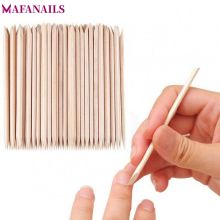 100pcs/Bag Nail Stick Cuticle Pusher 11.5cm Orange Wooden Remover for Manicure Pedicure Salon Art Tool