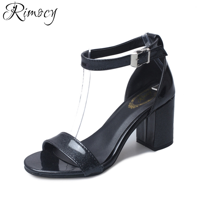 Rimocy thick high heels glitter sandals women 2017 summer fashion open toe ankle strap casual shoes woman sexy black white pumps new fashion women casual shoes women sandals 2016 thick high square heels sandals black flock pumps