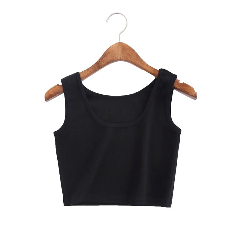 Summer Slim Render Short Women Sleeveless U Croptops Tank Solid Black/White Crop Tops Vest Tube 11Colors