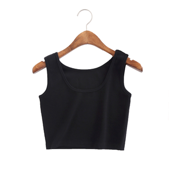 Summer Crop Top Sexy Women Slim Tank Top Short Women Sleeveless U Croptops Tank Tops Solid BlackWhite Crop Tops Vest Tube Top diy crop top