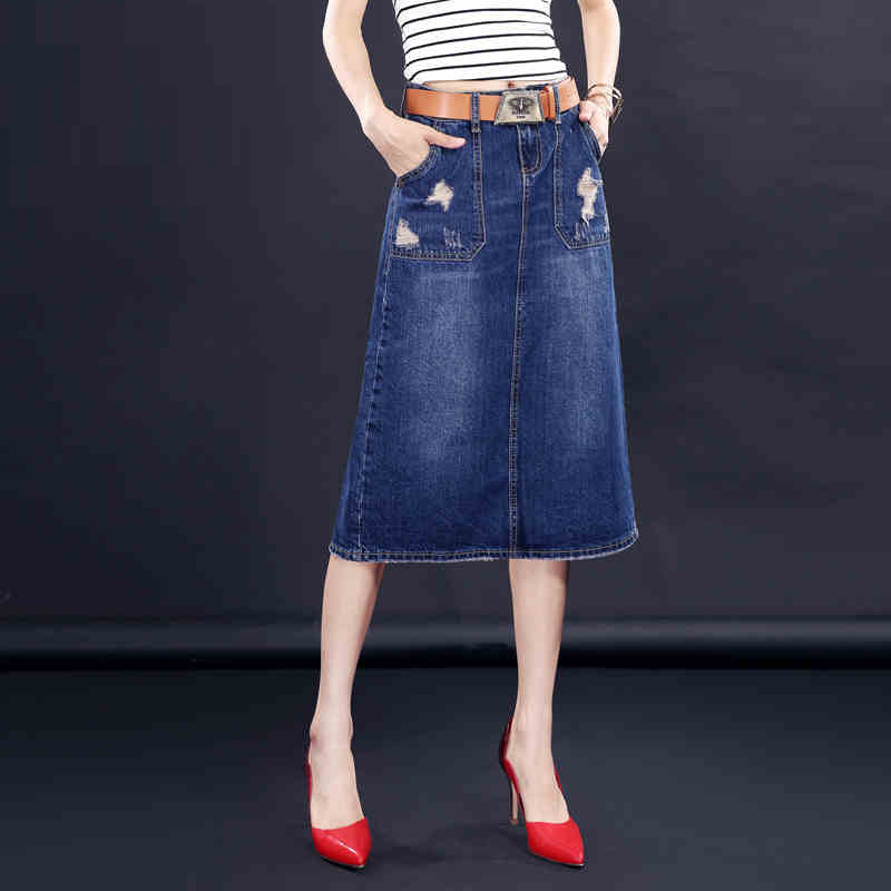 mid calf length denim skirts dress ala