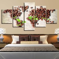 Canvas Wall Art Pictures HD Prints Living Room no frame 5 Pieces Coffee Bean Green Leaf Paintings World Map Posters Home Decor