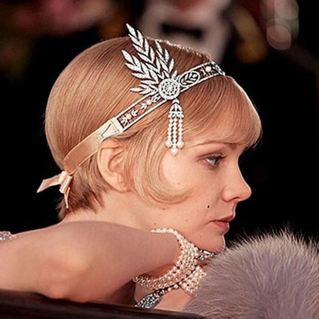 Venta caliente Gran Gatsby Corona de Diamantes De Imitación de Plata y Perla de La Vendimia Barato Accesorios de Boda Envío Gratis