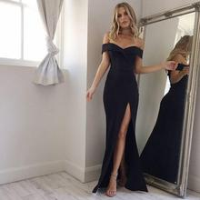 SKMY Summer New Arrival Off Shoulder Sexy Black Pink Dress 2019 Split The Fork Women Elegant Slash  Neck long Dres
