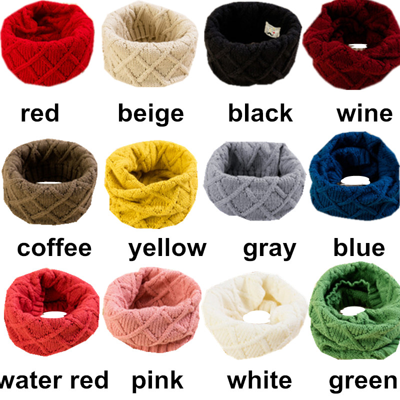 2019 Spring Baby Girls Scarf Children Girls Boys Kintted Wool O Ring Scarves Chidren Outing Protect Kint Solid Color Kids Collar