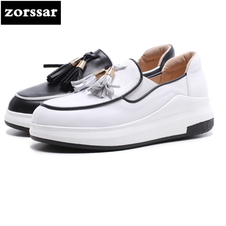 {Zorssar} Fashion fringe Genuine cow Leather Women Shoes Casual flat ladies Sneakers platform Flats Loafers Female Lazy shoes