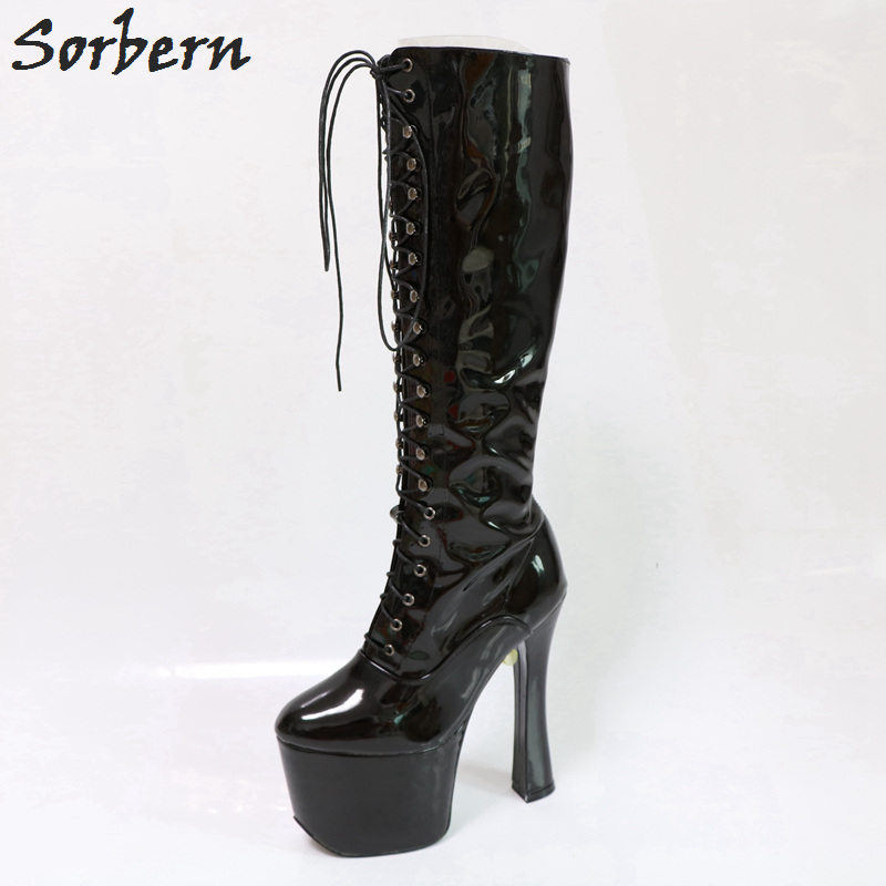 Sorbern Black Platform Boots Lace-Up Square Chunky Platform High Heel Round Toe Plus Size Women Unique Footwear Woman Thick Heel sorbern 17cm square chunky high heel mid calf boots lace up round toe women boots chunky platform boots plus size women autumn
