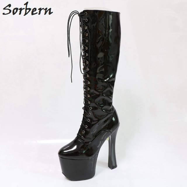 8d194f893fb08 Sorbern Black Platform Boots Lace-Up Square Chunky Platform High Heel Round  Toe Plus Size
