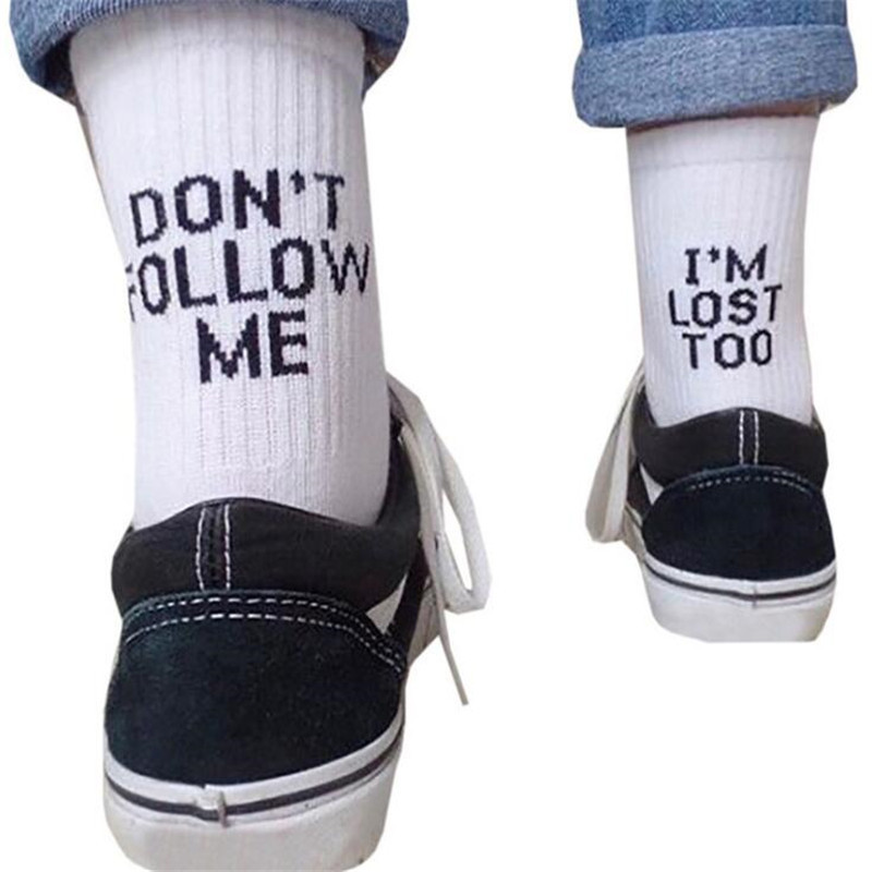 Drop Ship Men Funny Socks Harajuku Humor Word Printed Socks Creative Hip Hop Street Skateboard Unisex Crew Happy Socks