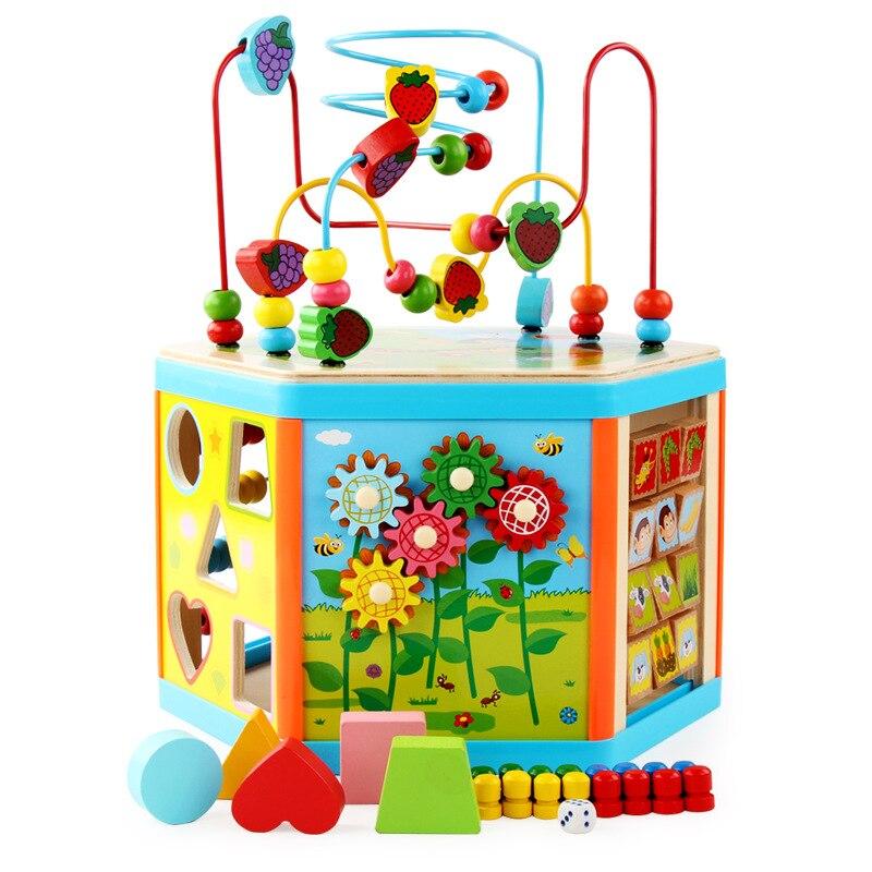Enfants jouets Montessori jouets en bois 6 côté Intelligence boîte formation jeu Puzzle maths jouets bébé début jouets éducatifs pour les enfants - 2
