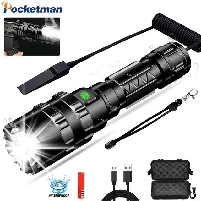 65000Lums Tactical Flashlight LED Scout L2 Ultra Bright Hunting Fish Light USB Rechargeable Waterproof Torch 5 Modes by 1*18650