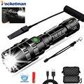 Linterna táctica de alta potencia LED Scout L2 luz Ultra brillante de pesca de caza USB recargable linterna impermeable 5 modos por 1*18650