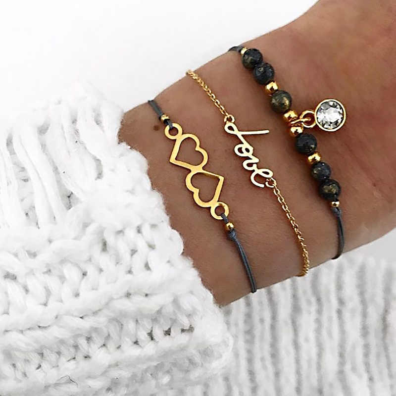 3pcs/set Bohemian Vintage Charm Love Heart Letter Beaded Bracelet Women's New Year Fashion Rope Chain Crystal Jewelry Lady Gift