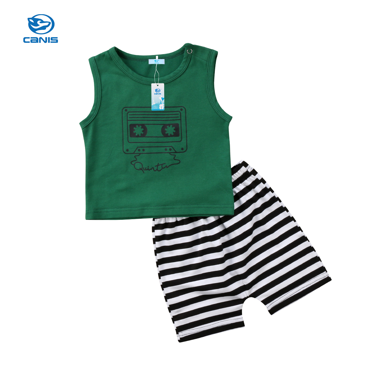 CANIS 2pcs Baby Girls Clothes Newborn Baby Boys Girls Kids T-shirt Tops Vest Striped Shorts Pants Trousers Outfit Clothes Set