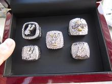5 unids 1999 2003 2005 2007 2014 Anillo de Campeón San Antonio Espolón DUNCAN 1 Unidades Con Caja de Presentación De Madera anillo de Baloncesto fan regalo