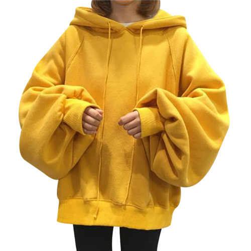 Hooded Round Neck Shoulder Sweatshirts nikunLONG Lantern Sleeve Sweatshirt Pullover Tops Womens Long Sleeve