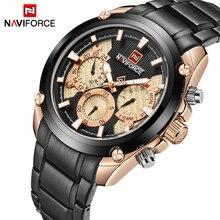 NAVIFORCE relojes para hombre de lujo de la mejor marca, reloj de cuarzo deportivo informal para hombre con fecha de 24 horas, reloj de pulsera militar de acero completo, reloj Masculino