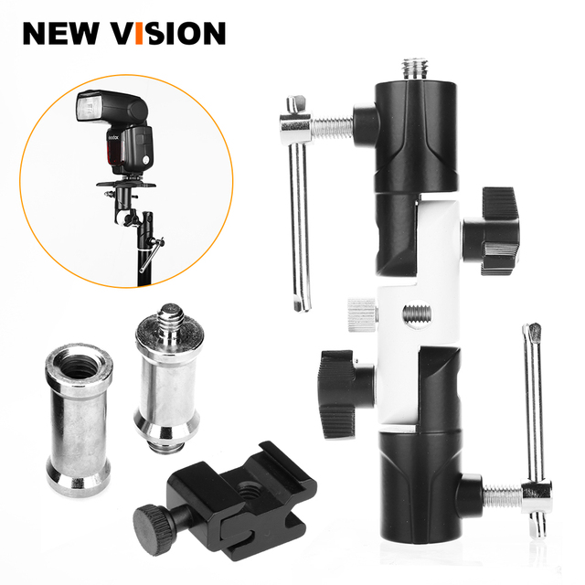 "Flash Shoe Swivel Umbrella Holder Light Stand 1/4"" 3/8"" Adapters Bracket U Type"