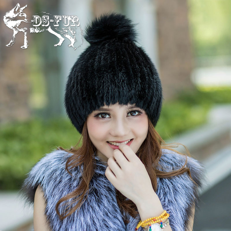 Hot sale real mink fur hat for women knitted mink fur cap winter thick warm female beanie brand new fox fur ball women's hats  цена и фото