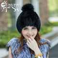 Hot sale real mink fur hat for women knitted mink fur cap winter thick warm female beanie brand new fox fur ball women's hats