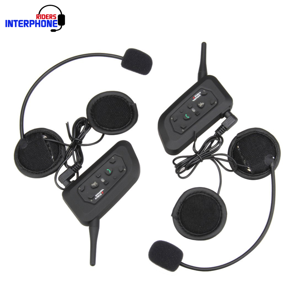 New 2PCS Motorcycle Helmet Intercom 1200M Motorbike BT Bluetooth V3.0 Interphone Intercom Headsets Kits US Plug for 6 Riders vnetphone 5 riders capacete cascos 1200m bt bluetooth motorcycle handlebar helmet intercom interphone headset nfc telecontrol