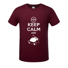 """Keep Calm And Carry On Snorlax Sleep"" Casual Pokemon T-Shirt"