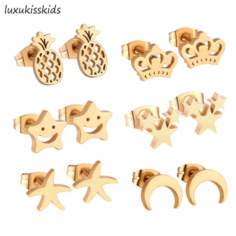 LUXUKISSKIDS 6Pairs/Box Stainless Steel Stud Earrings,Pineapple Crown Star Moon and Smile Face Shape Women Fashion Earrings