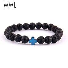 WML Trendy jesus cross Charm men bracelets Black Lava Stone 8mm Beads Bracelets & Bangles for women Jewelry